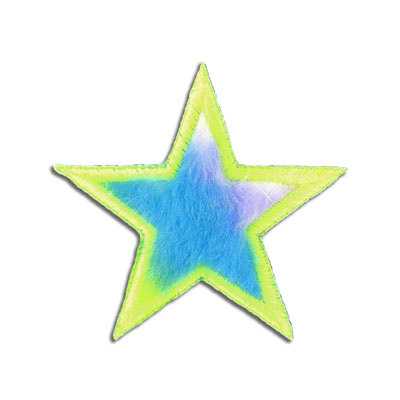 Iron-on embroidery applique, 79mm, multi-color star