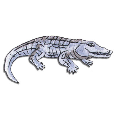Iron-on embroidery applique, 9.7x3.8cm, crocodile