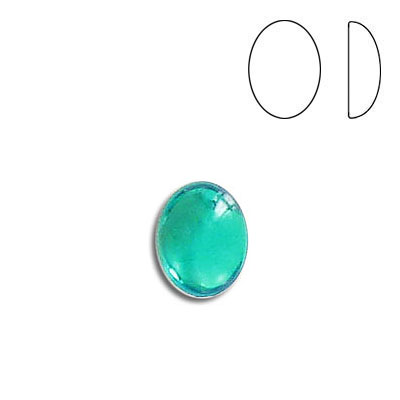 Plastic cabochon, oval, 10x8mm, emerald