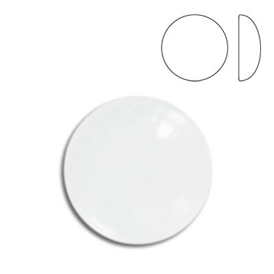 Plastic cabochon, round, 18mm, crystal, unfoiled