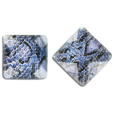 Plastic cabochon, faceted, 18mm, square, blue snake
