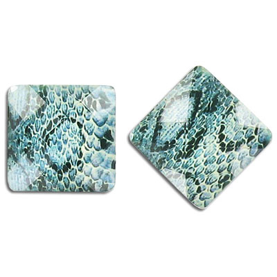 Plastic cabochon, faceted, 18mm, square, green snake