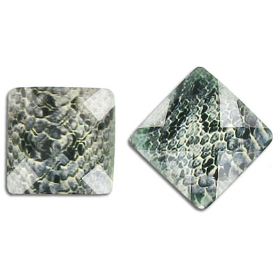 Plastic cabochon, faceted, 18mm, square, grey snake