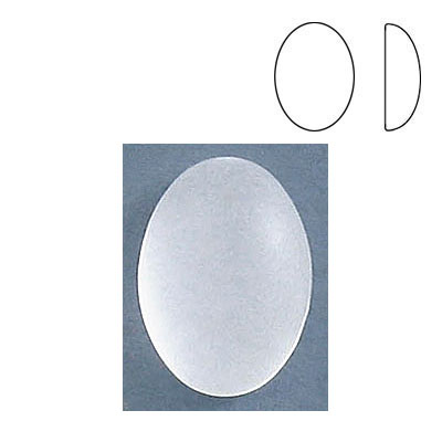 Plastic cabochon, oval, 18x13mm, frosted crystal