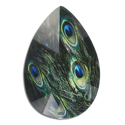 Plastic cabochon, faceted, 30x45mm, pear shape, green peacock