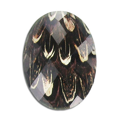 Plastic cabochon, faceted, 40x30mm, oval, brown peacock