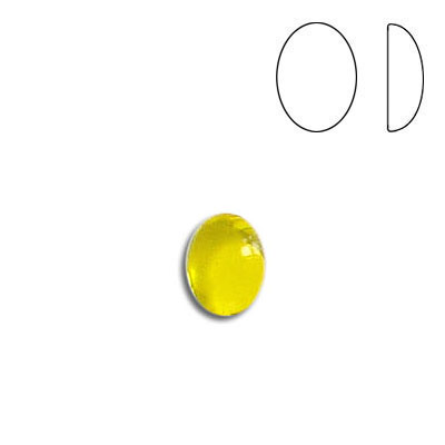 Plastic cabochon, oval, 8x6mm, jonquil