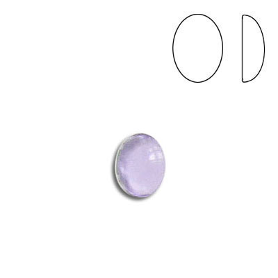 Plastic cabochon, oval, 8x6mm, light amethyst