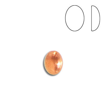 Plastic cabochon, oval, 8x6mm, copper