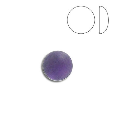 Plastic cabochon, round, 9mm, frosted amethyst