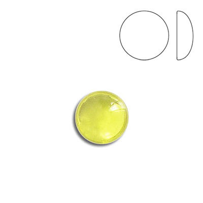 Plastic cabochon, round, 9mm, jonquil