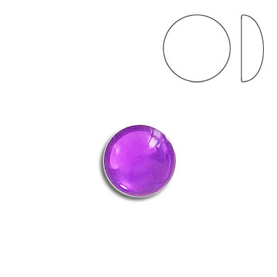 Plastic cabochon, round, 9mm, light amethyst