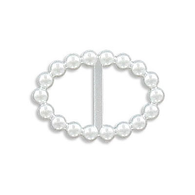 Pearl component, oval with bar, 23x16mm, white