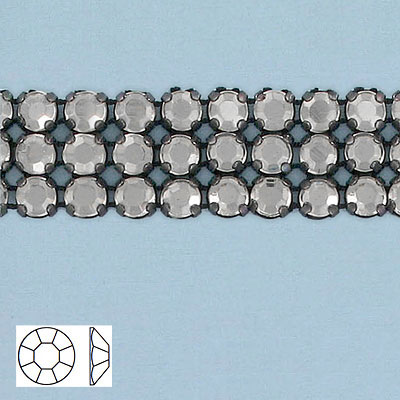 Rhinestone banding, 3-row black net, 0 sid, black diamond XT, black setting, flat