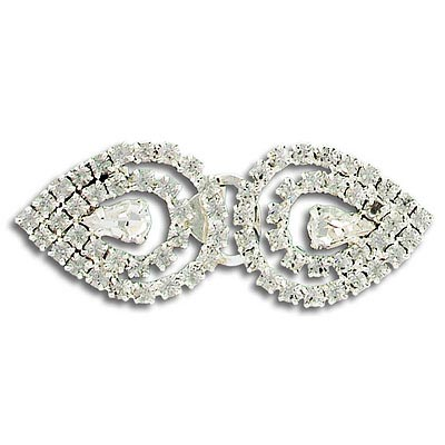 Rhinestone buckle, crystal/silver (ps)