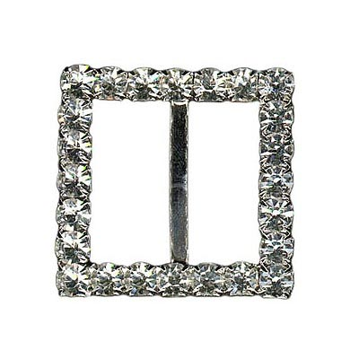 Rhinestone buckle, 30mm square, silver/crystal