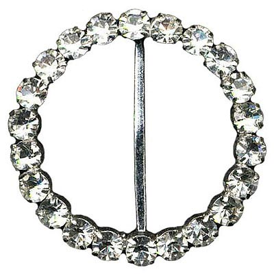 Rhinestone buckle, 45mm, crystal silver