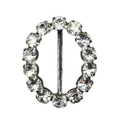 Rhinestone buckle, 35mm oval, crystal/silver