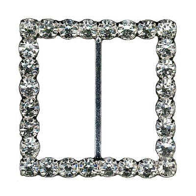 Rhinestone buckle, 45mm square, crystal/silver