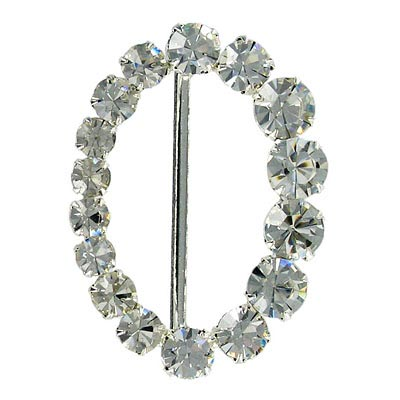 Rhinestone buckle, 50x36mm, crystal/silver