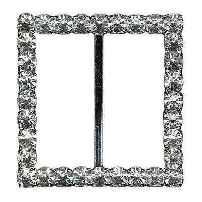 Rhinestone buckle, 55mm square, crystal/silver