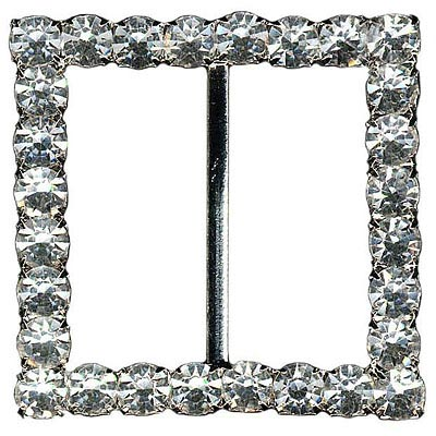 Rhinestone buckle, 50mm square, crystal/silver