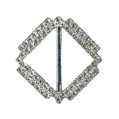 Rhinestone buckle, 40mm square, 2-row, crystal/silver