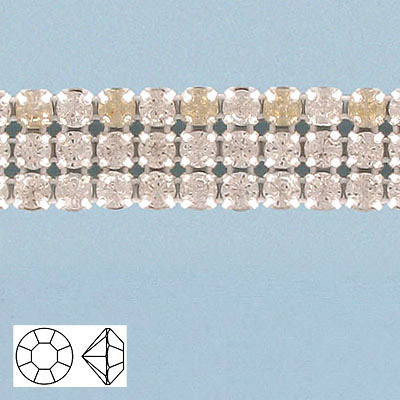 Rhinestone banding, 3-row, brilliant crystals ss20, white net, no edging