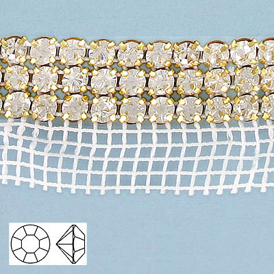 Rhinestone banding, 3-row, ss20, white net, 1-side, crystal, gold setting