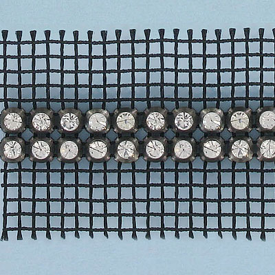 Rhinestone banding, 2-row, SS15 size, black net, 2S machine cut, crystal silver, rim set