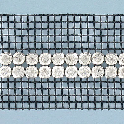 Rhinestone banding, 2-row, SS15 size, black net, 2S machine cut, crystal black, rim set
