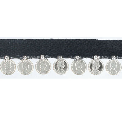 Banding with 8mm silver plate coins, black