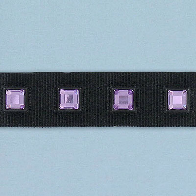 Rhinestone banding, acrylic stone trimming light amethyst/black