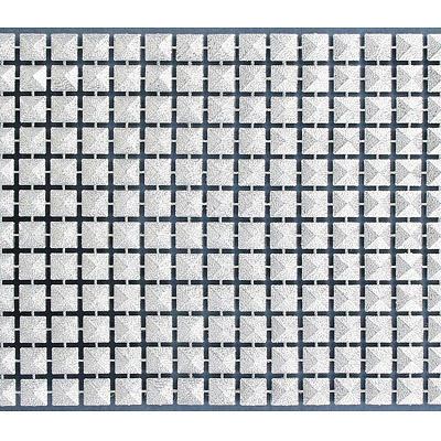 Plastic banding, 12 row, 8mm pyramid tile, silver