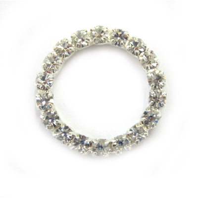 Rhinestone component, 23mm, ring, crystal, silver plate
