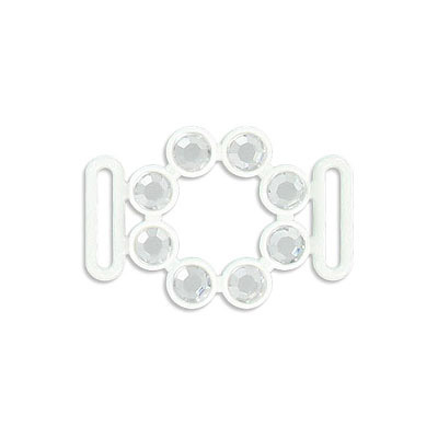 Acrylic stones component, connector, 34x23mm, white