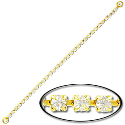 Rhinestone component, rhinestone dress strap, crystal/gold