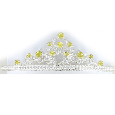 Tiara with jonquil color stones, silver plate