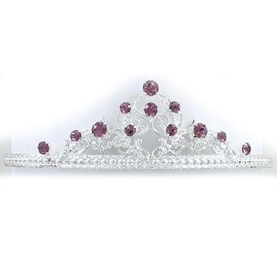 Tiara with light amethyst color stones, silver plate