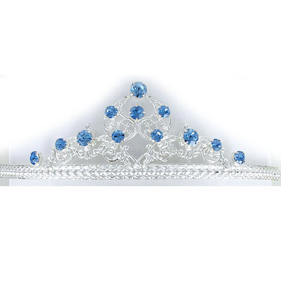 Tiara light sapphire color stones, silver plate