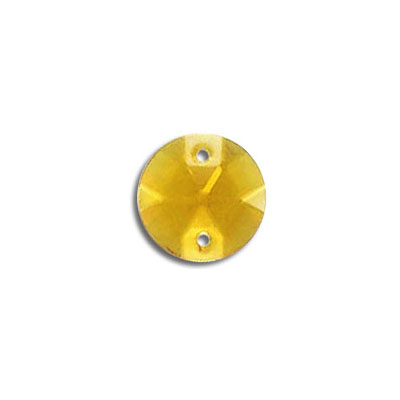 Sew-on jewel round, topaz, 11mm size
