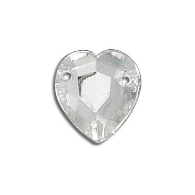 Sew-on jewel heart shaped, crystal, 11x10mm size