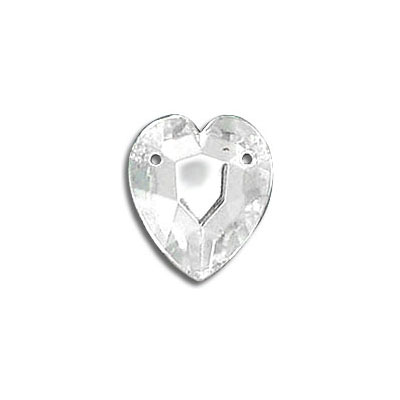 Sew-on jewel, 14x12mm, heart shaped, crystal color