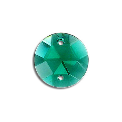 Sew-on jewel, 15mm, round, emerald
