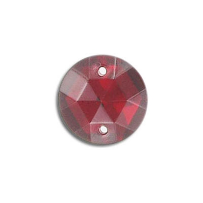 Sew-on jewel, 15mm, round, siam