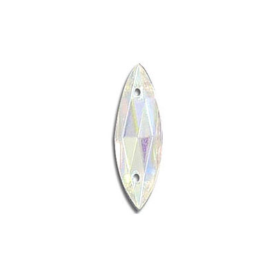 Sew-on jewel, 18x6mm, navette, ab crystal
