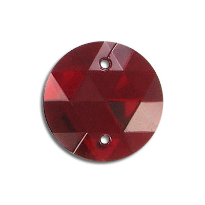 Sew-on jewel, 20mm, round, siam
