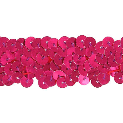 Stretch sequins 2-row fushia
