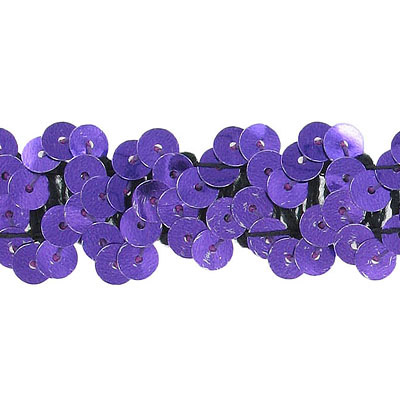 Stretch sequin 2-row purple banding