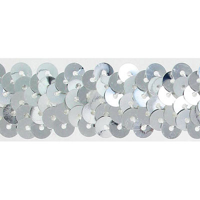 Stretch sequin 2-row silver banding